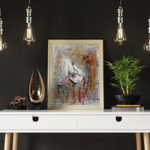 Peinture érotique avec cadre en bois