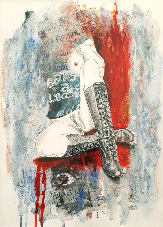 Oeuvre unique intitulée : Bottes à Lacets
